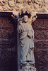 Portal Sculpture of Christ on Notre Dame Cathedral in Paris, March 2004