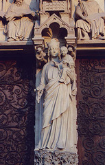 Portal Sculpture of the Virgin and Child on Notre Dame Cathedral in Paris, March 2004