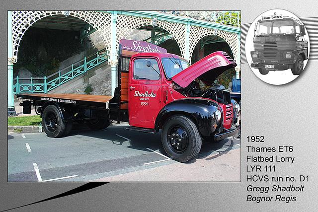 D1 1952 Thames ET6 lorry LYR 111