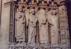 Portal Sculptures on Notre Dame Cathedral in Paris, March 2004