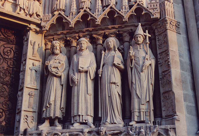 Sculptures on the Portal of Notre Dame Cathedral in Paris, March 2004