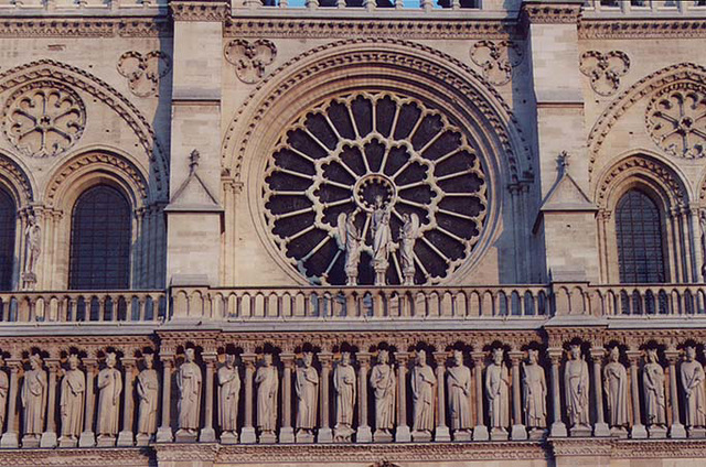 Rose Window and Sculptural Facade Detail of Notre Dame in Paris, March 2004