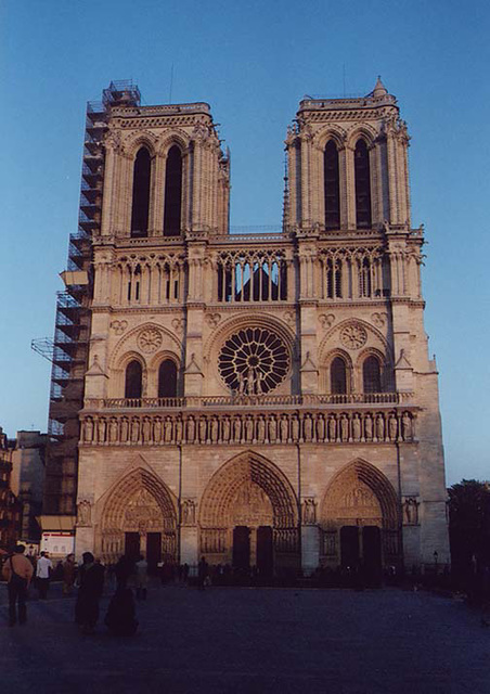 Front Facade of Notre Dame Cathedral in Paris, March 2004