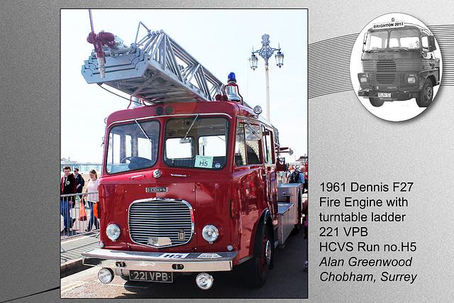 H5 1961 Dennis Turntable ladder Surrey FB 221 VPB