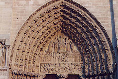 Tympaneum of Notre Dame Cathedral in Paris, March 2004
