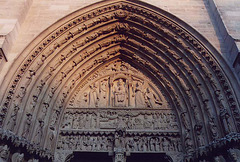 Central Tympaneum of Notre Dame Cathedral in Paris, March 2004