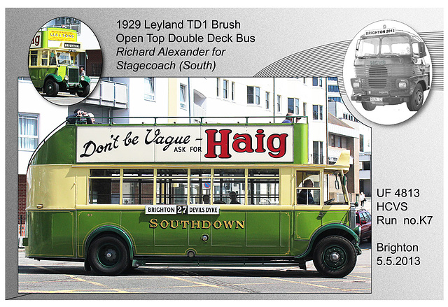K7 1929 Leyland TD1 Brush Bus Brighton 5 5 2013
