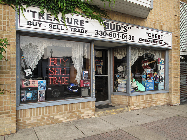 """This place is famous: the """"Treasure Bud's Chest"""" shop in downtown Wooster, Ohio."""