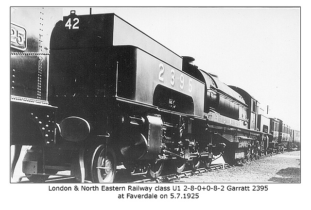 LNER class U1 2-8-0+0-8-2 Garratt 2395 at Faverdale on 5.7.1925