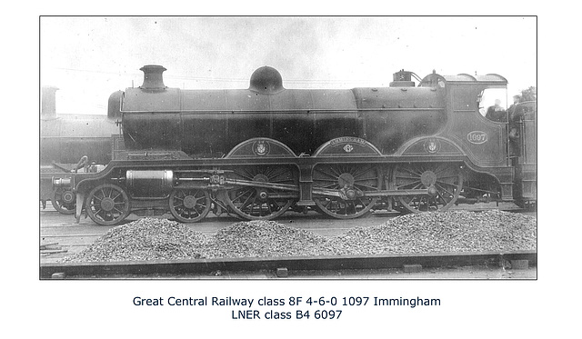 GC 8F - 4-6-0 1097 at Immingham  - LNER B4 6097 - no date or location given.