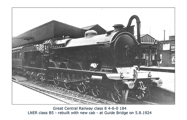GC cl8 4 6 0 184 LNER B5 5184 Guide Bridge 5 8 1924 WHW