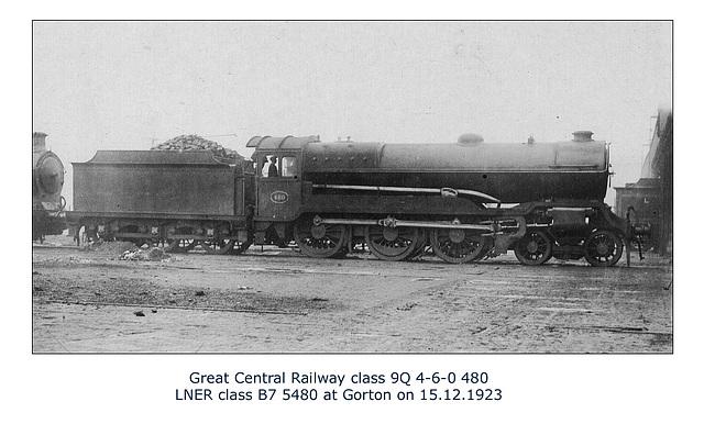 GC class 9Q 4 6 0 480 LNER class B7 5480 Gorton 15 12 1923 WHW