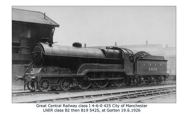GC class I 4 6 0 425 LNER B2 & B19 5425 Gorton 19 6 1926 WHW