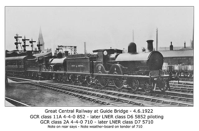GCR 4 4 0s 852 & 710 LNER 5852 & 5710 at Guide Bridge 4 6 1922
