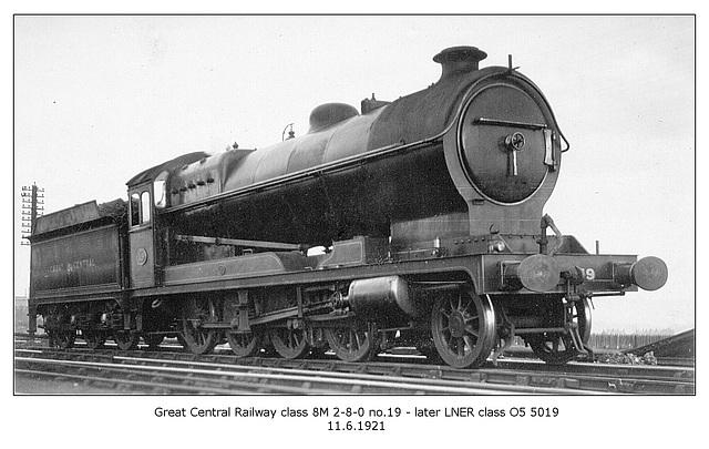 GCR cl  8M 2 8 0 19 LNER cl O5 5019  11 6 1921