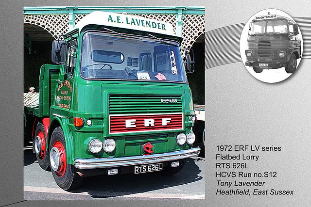 S12 1972 ERF LV series Flatbed RTS 626L Brighton 5 5 2013
