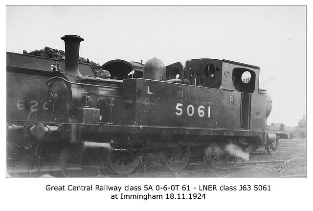 GCR class 5A 0-6-0T 61 - LNER cl J63 5061 - Immingham - 18.11.1924 WHW