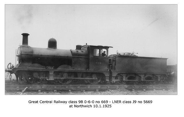 GCR class 9B 0-6-0 669 - LNER class J9 5669 - Northwich - 10.1.1925 LPC