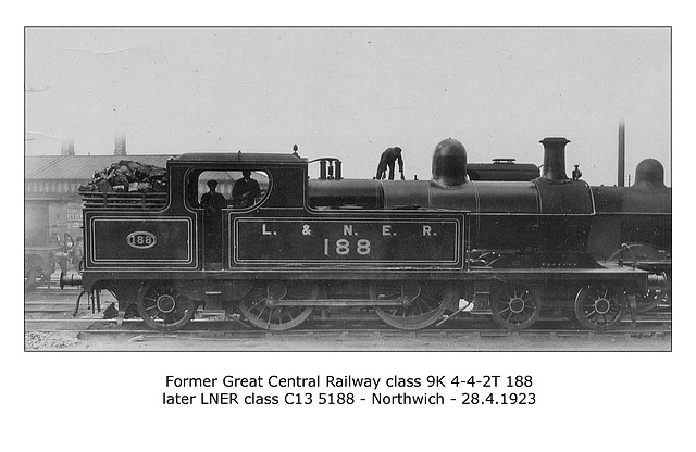 GCR cl 9K 4-4-2T no.188  - LNER cl C13 no.5188 at Northwich on 28.4.1923 WHW