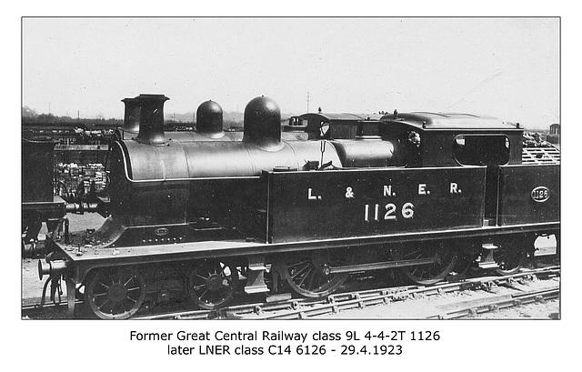 GCR cl 9L 4-4-2T no.1126 LNER cl 14 no. 6126 - 29.4.1923 WHW