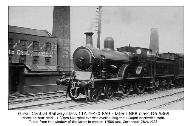 GCR cl 11A 4 4 0 869 LNER cl D6 5869 Cornbrook 28 4 1923 WHW