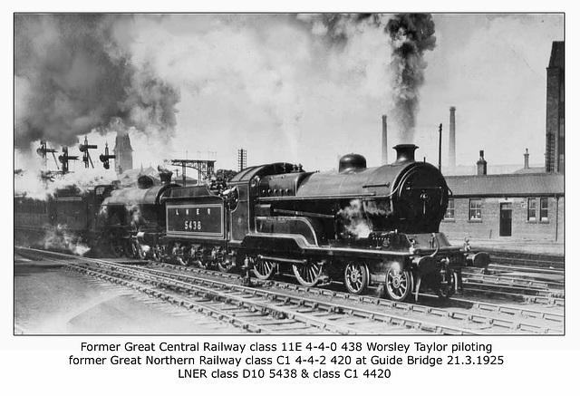 GCR class 11E & GNR class C1 - LNER nos. 5438 & 4420 - Guide Bridge - 21.3.1925 WHW