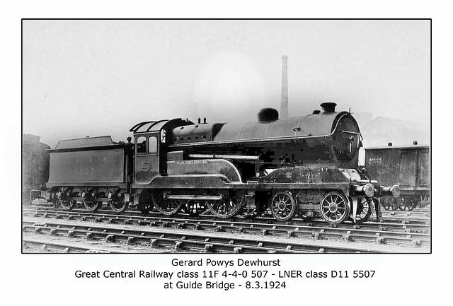 GCR cl 11F 4 4 0 507 LNER cl D11 5507 Guide Bridge  8 3 1924 WHW