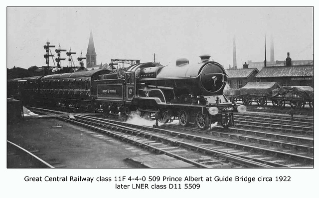 GCR cl 11F 4 4 0 509 Prince Albert LNER cl D11 Guide Bridge c1922
