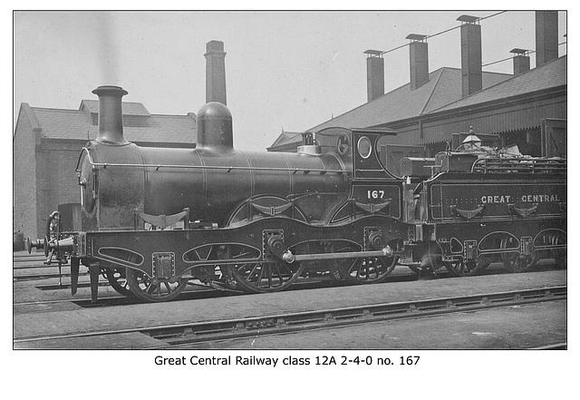 GCR class 12A 2-4-0 no.167 - circa 1920 LPC