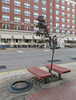 Places for people to sit facing away from one another, of downtown Marietta, Ohio.