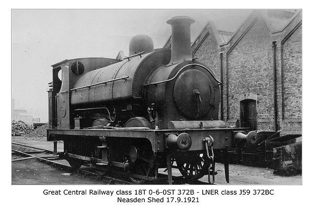 Great Central Railway class 18T 0-6-0ST 372B - LNER cl J59 - Neasden - 17.9.1921
