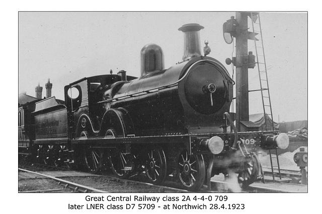 GCR class 2A 4-4-0 class 2A - 709  - LNER class 7 - 5709 - Northwich - 30.4.1923