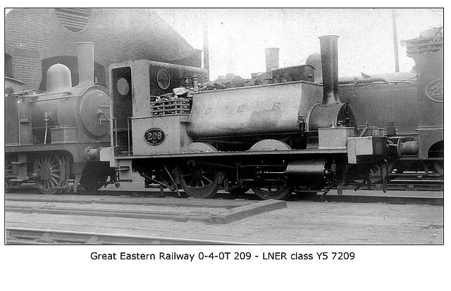 GER 0-4-0ST 209 - LNER cl Y5 - 7209 c1920