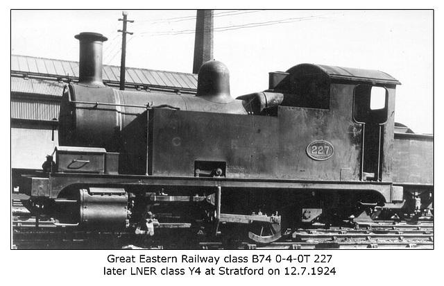 GER cl B74 0-4-0T 227 - LNER cl Y4 7227 - Stratford - 12.7.1924