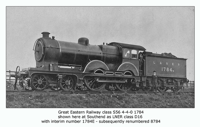 GER cl D56 4 4 0 1784 LNER cl D16 8784 Southend c1924 WHW
