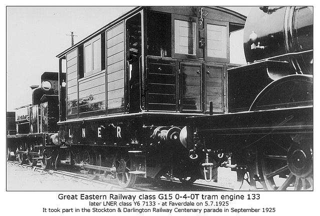 GER cl G15 0 4 0T 133 LNER cl Y6 7133 Faverdale 5 7 1925