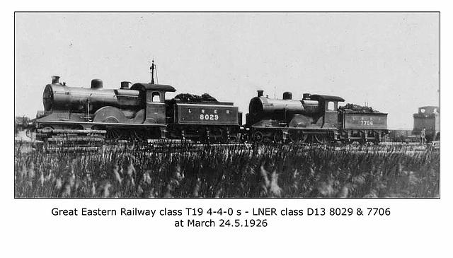 GER cl T19 4 4 0s LNER D13 8027 & 7706 March 24 5 1926 WHW