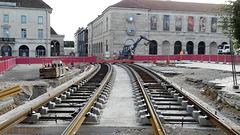 BESANCON: Travaux du tramway: Place de la Révolution 1.