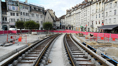 BESANCON: Travaux du tramway: Place de la Révolution 3.