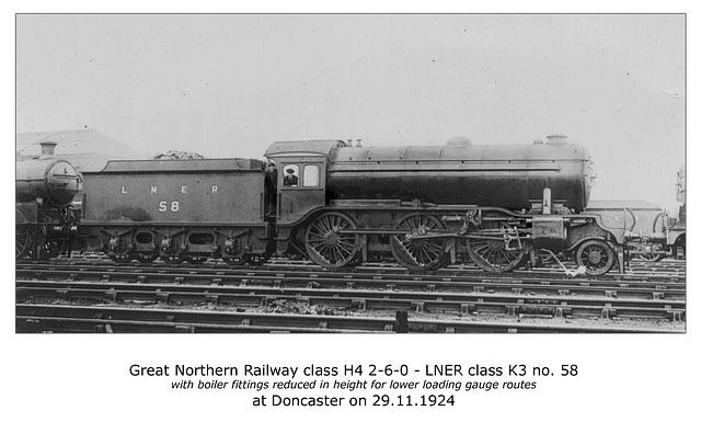 GNR cl H4 260 LNER cl K3 no 58 Doncaster 29 11 1924