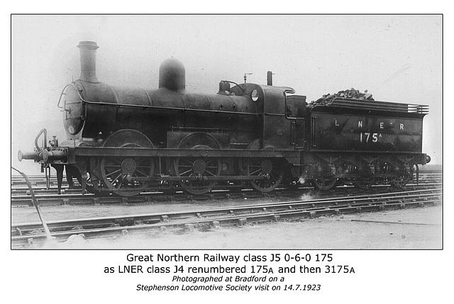 GNR cl J5 0 6 0 175 LNER cl J4 3175A Bradford 14 7 1923 WHW