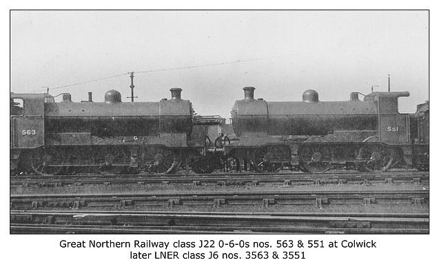 GNR cl J22 0 6 0s nos 563 & 551 LNER J6 Colwick c1922