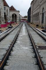 BESANCON: Place du marché: Construction de la ligne du tram.