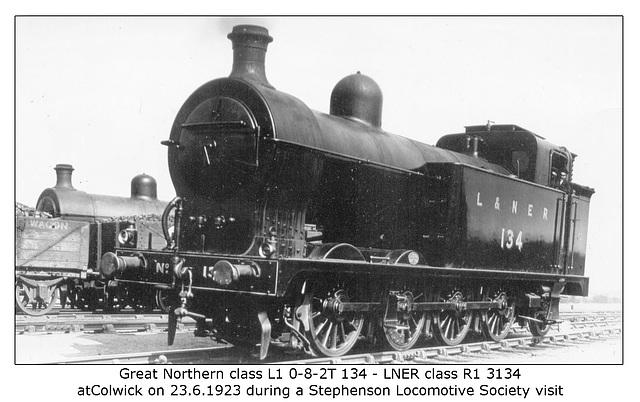 GNR cl L1 082T 134 LNER cl R1 3134 Colwick 13 6 1923