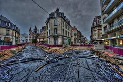 BESANCON: Avenue Carnot, Avenue Fontaine Argent: Construction de la ligne du tram 03.