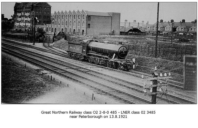 GNR cl O2 2 8 0 485 LNER cl O2 3485 Peterborough 13 8 1921