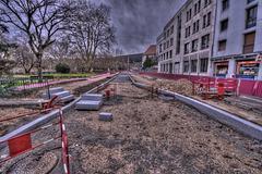 BESANCON: Avenue Cusenier: Construction de la ligne du tram.