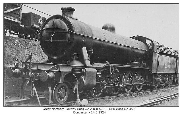 GNR cl O2 2 8 0 500 LNER cl O2 3500 Doncaster 14 6 1924 WHW