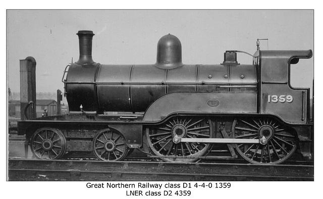 GNR D1 4-4-0 no.1359  - LNER class D2  no.4359 - LPC