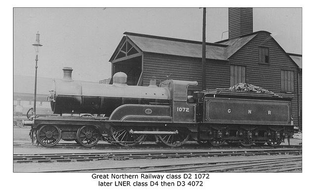 GNR D2 4 4 0 1072 LNER D4 D3 4072